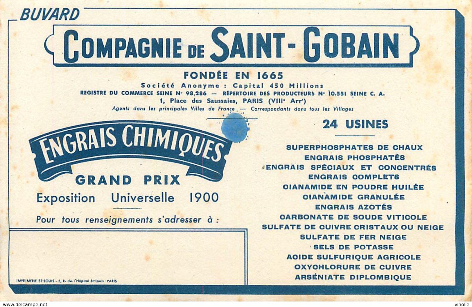 VP-GF.18-42: BUVARD.  COMPAGNIE SAINT-GOBAIN. ENGRAIS CHIMIQUES - Agriculture