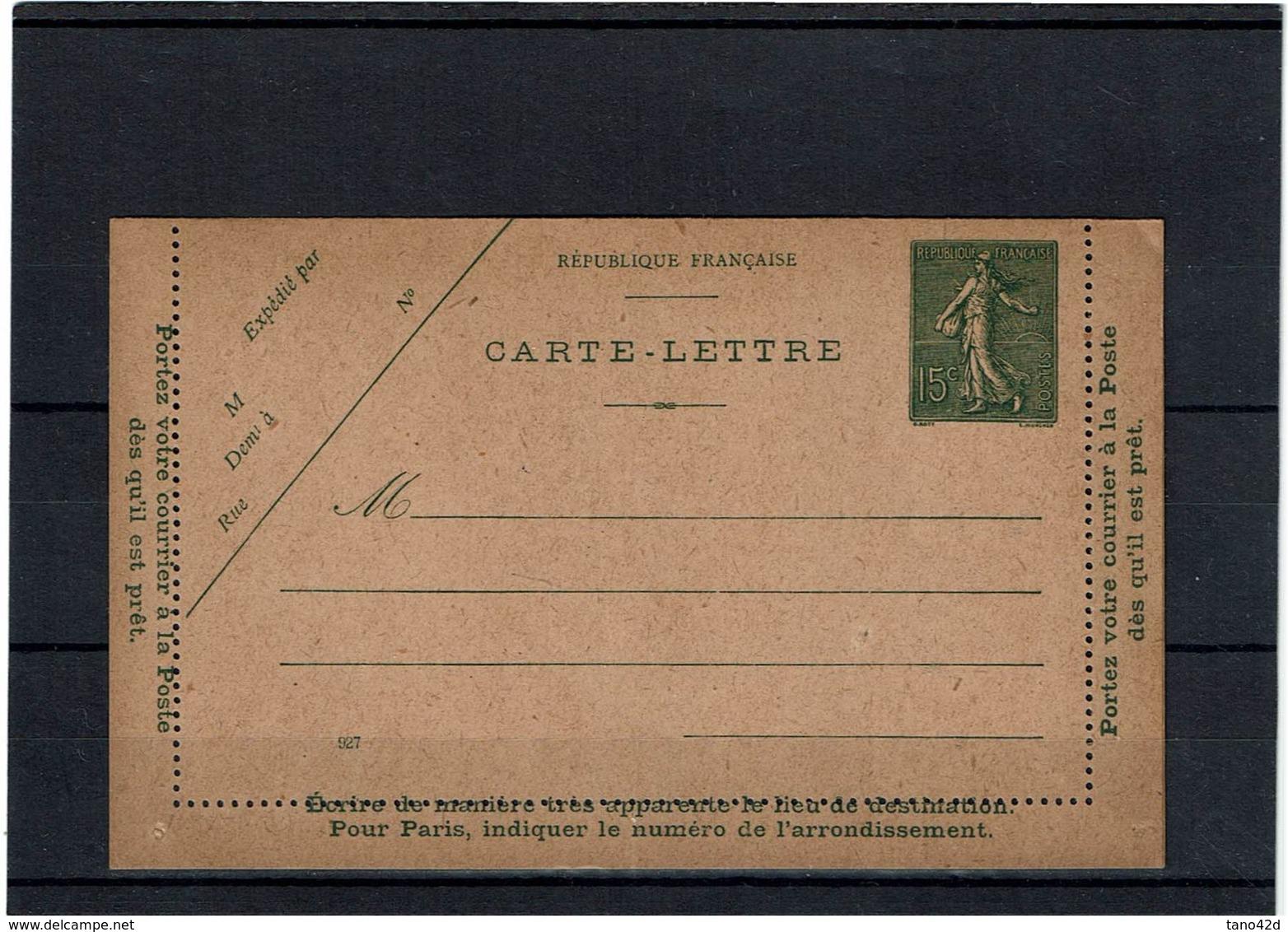 CTN27 - CARTE LETTRE SEMEUSE LIGNEE 15c DATE 927 NEUVE STORCH B8 TTB - Cartes-lettres
