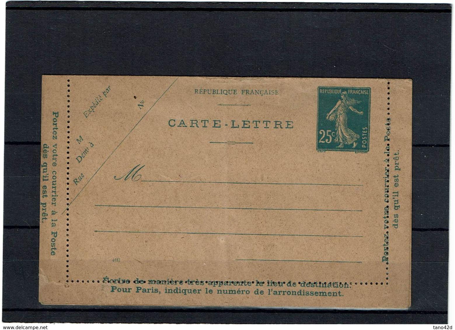 CTN27 - CARTE LETTRE SEMEUSE CAMEE 25c  DATE 403 NEUVE AVEC GROS DEFAUT STORCH J1 POUR REFERENCE - Cartes-lettres