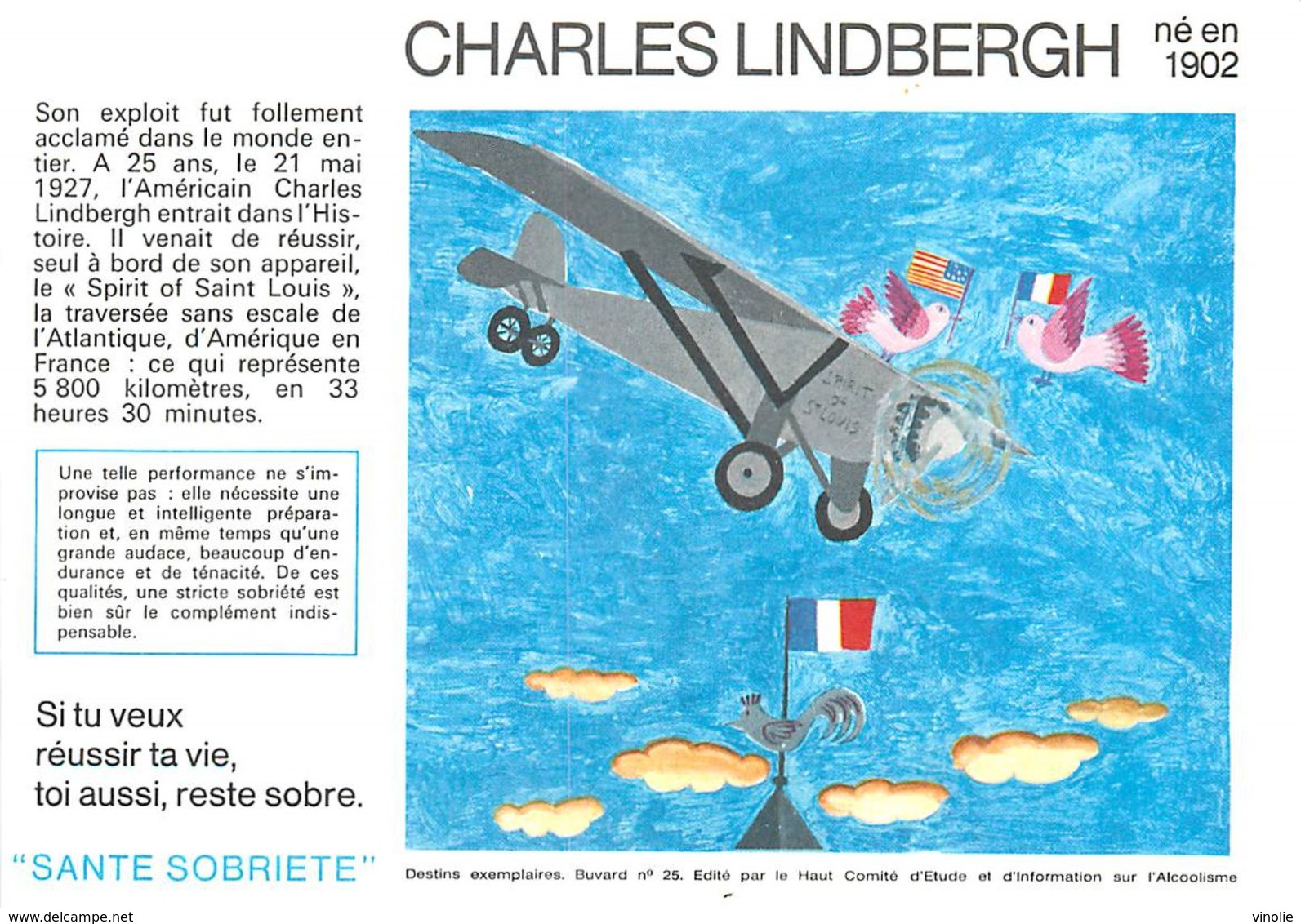 VP-GF.18-79 : BUVARD.  AVIATEUR CHARLES LINDBERGH - Löschblätter, Heftumschläge