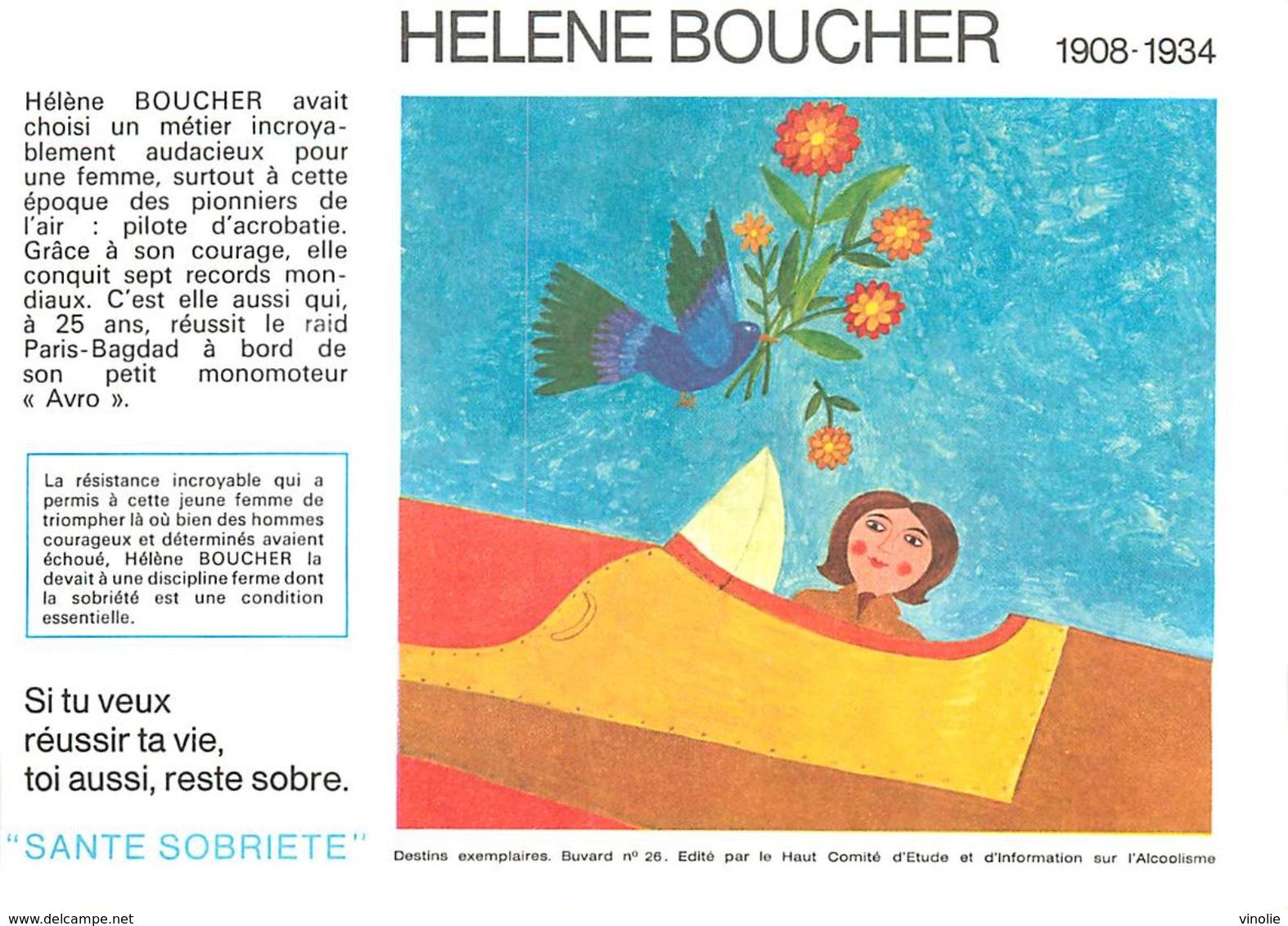VP-GF.18-81 : BUVARD.  AVIATRICE HELENE BOUCHER - Buvards, Protège-cahiers Illustrés