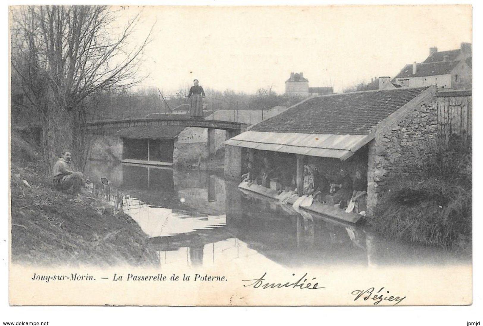 """77 - Jouy Sur Morin - La Passerelle De La Poterne - A. Breger - Cpa """"précurseur"""" - Autres Communes"""