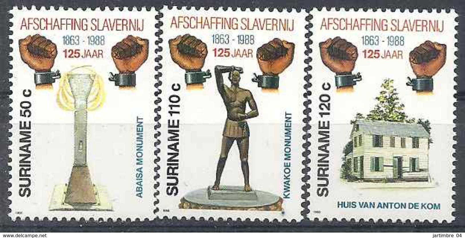 1988 SURINAM 1129-31** Esclavage, Statue - Surinam