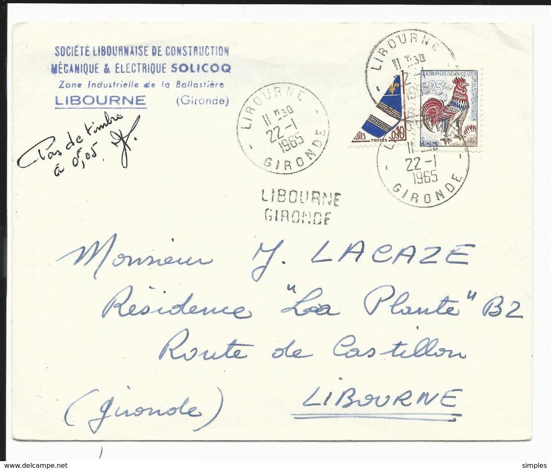 Lettre Avec Affranchissement De Fortune Coq De Décaris + 1/2 Timbre Blason TROYES + Griffe Libourne De 1965 - Postmark Collection (Covers)