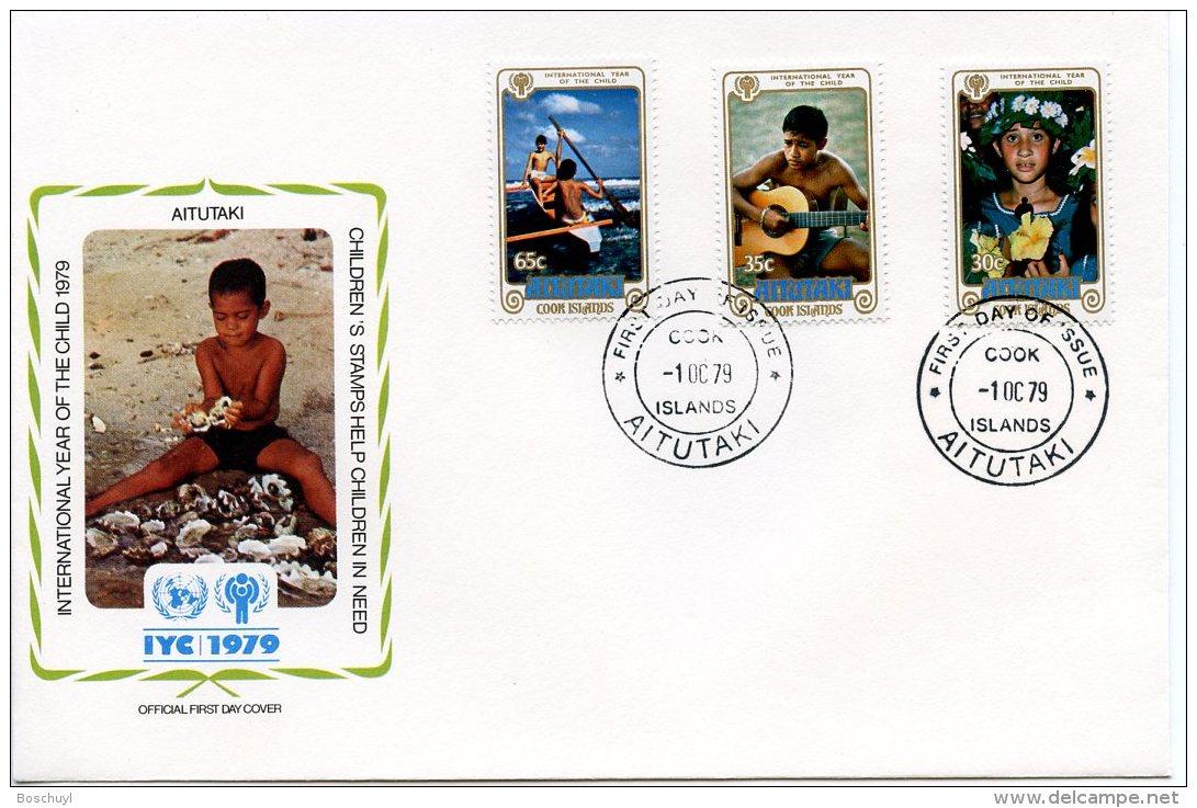 Aitutaki, 1979, International Year Of The Child, IYC, United Nations, FDC, Michel 310-312 - Aitutaki