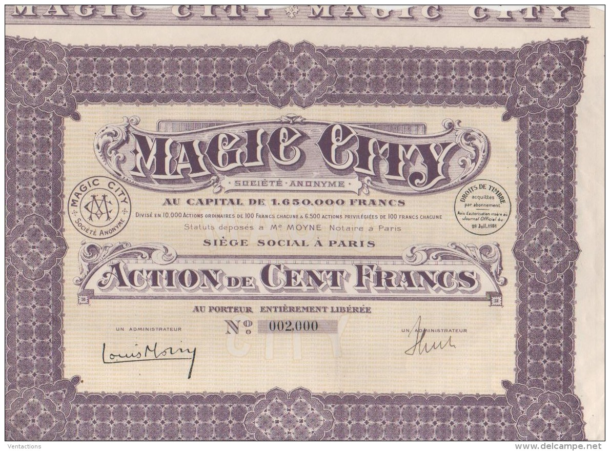 75-MAGIC CITY. 1931. Action. Capital 1,65 MF - Shareholdings