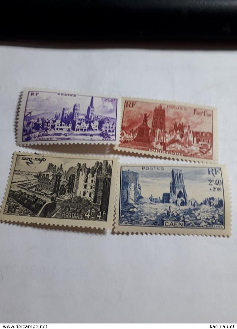 """Série Timbres FR YT 744 à 747 """" Au Profit L'entraide Française """" 1945 Neuf - France"""