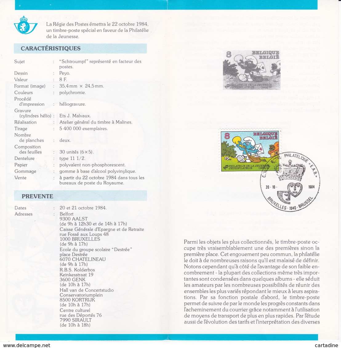 Feuillet De La Poste - Schtroumpf - Peyo- 1984 - Timbre N° 2150 - Oblitéré Bruxelles - 1981-90