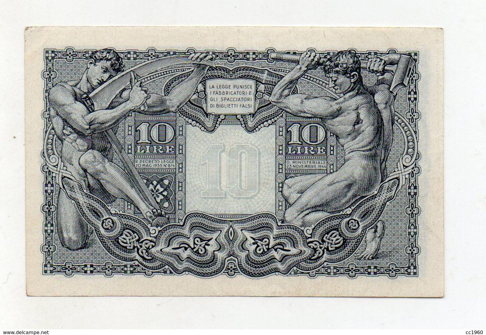 """Italia - Luogotenenza - Biglietto Di Stato Da Lire 10 """" Giove """" - Decreto 23.11.1944 - (FDC8525) - [ 1] …-1946 : Kingdom"""