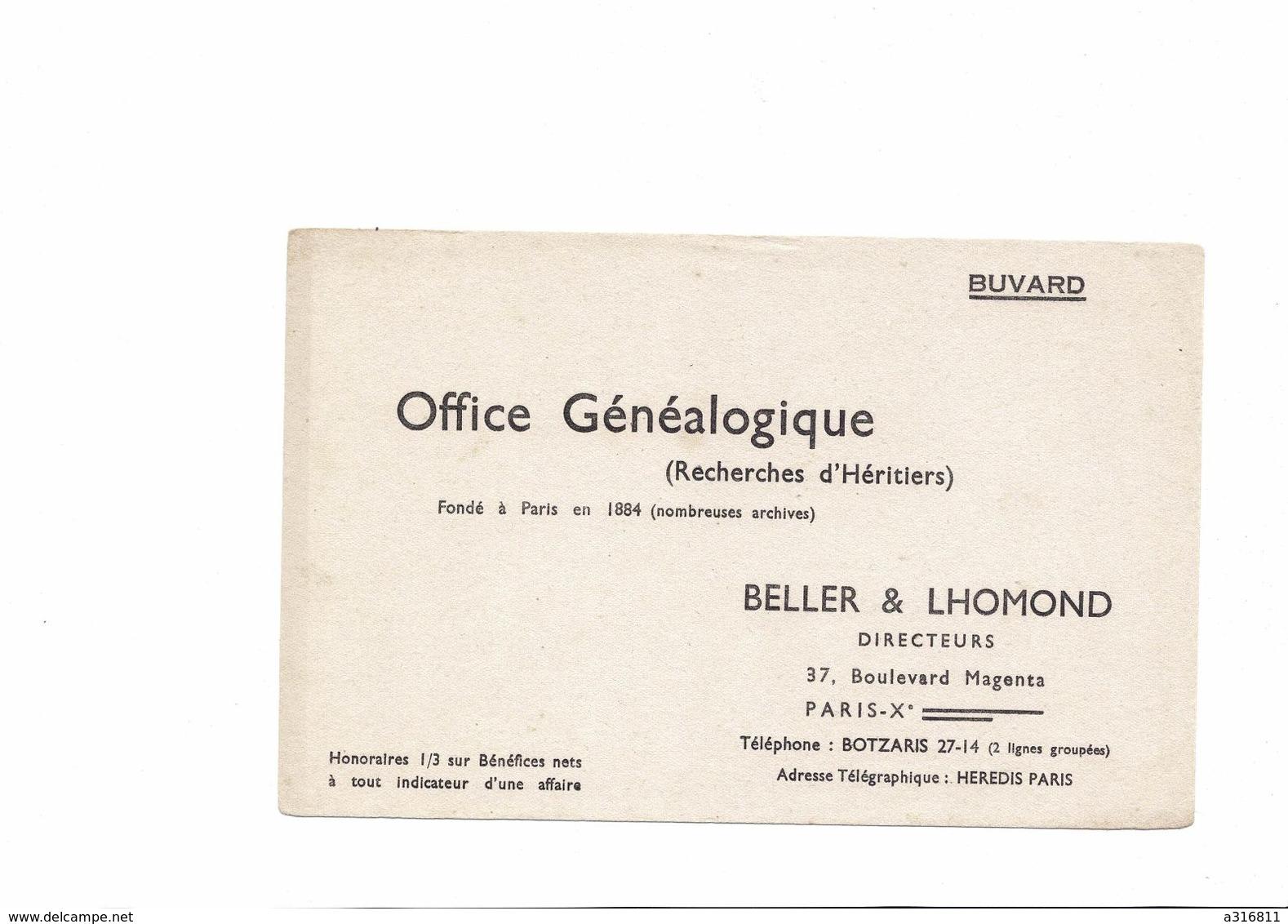 BUVARD   OFFICE GENEALOGIQUE    RECHERCHES D HERITIERS  BELLER& Lhomond - Buvards, Protège-cahiers Illustrés
