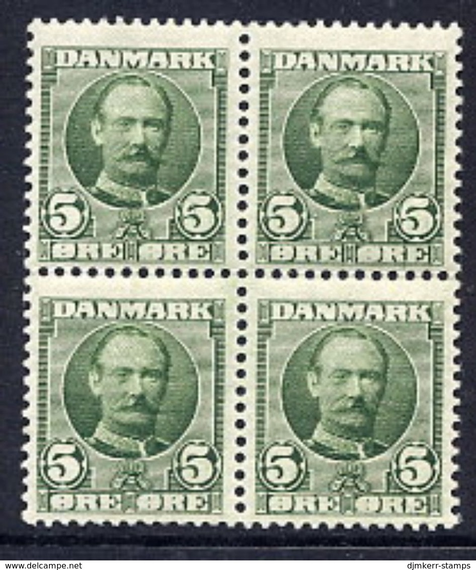 DENMARK 1907 Frederik VIII 5 Øre Block Of 4 MNH / **.  Michel 53 - 1905-12 (Frederik VIII)