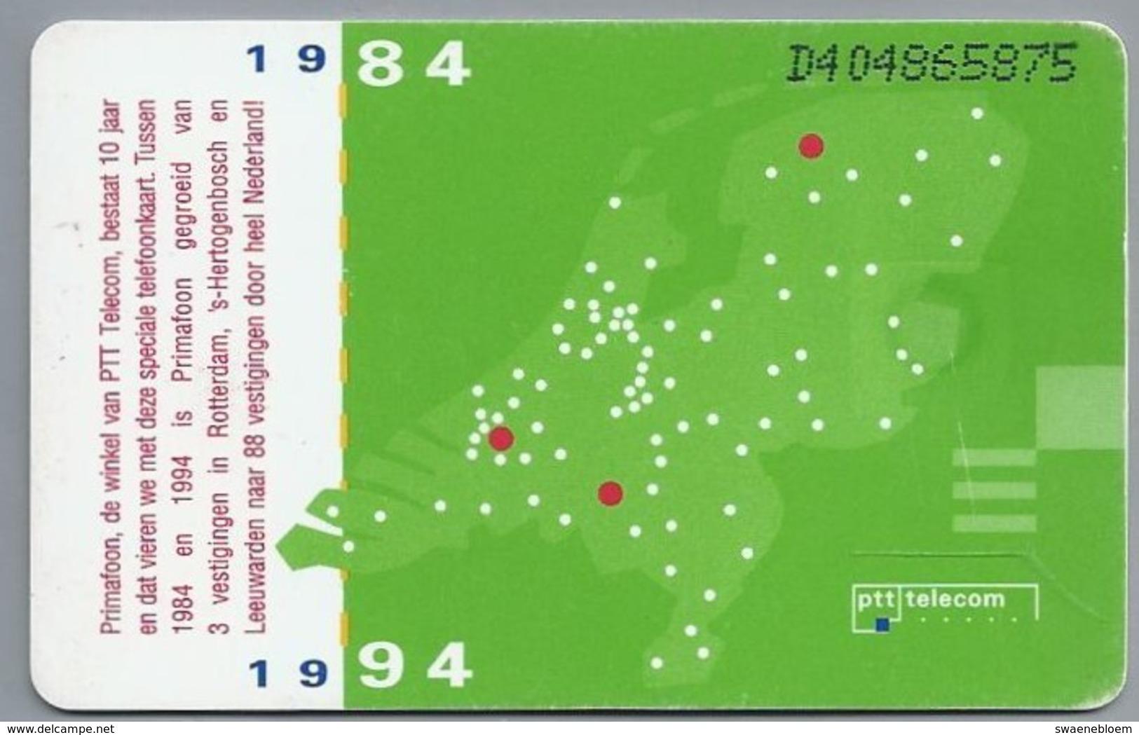 NL.- Telefoonkaart. PTT TELECOM. 5 Gulden. Primafoon 10 Jaar. 1984 - 1994. D404 - Telecom