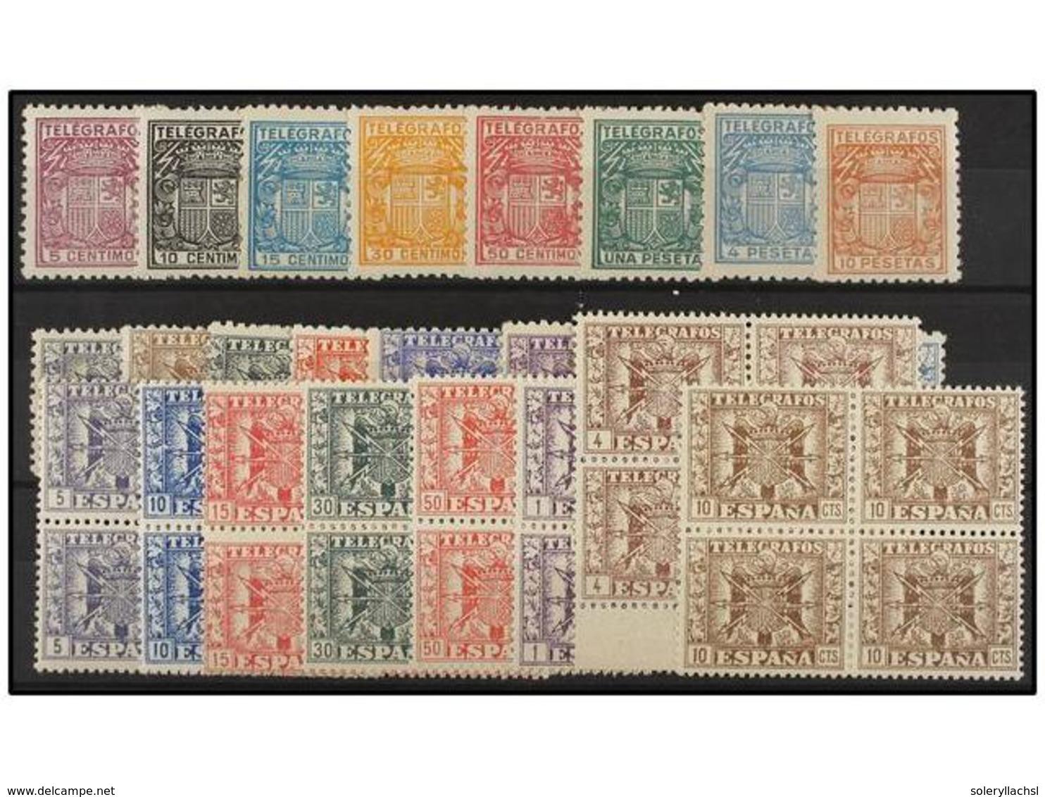 812 ** ESPAÑA: TELEGRAFOS. Ed.68/75, 76/84, 85/92. SERIES COMPLETAS, La última En Bloque De Cuatro. LUJO. Cat. 188€. - Stamps