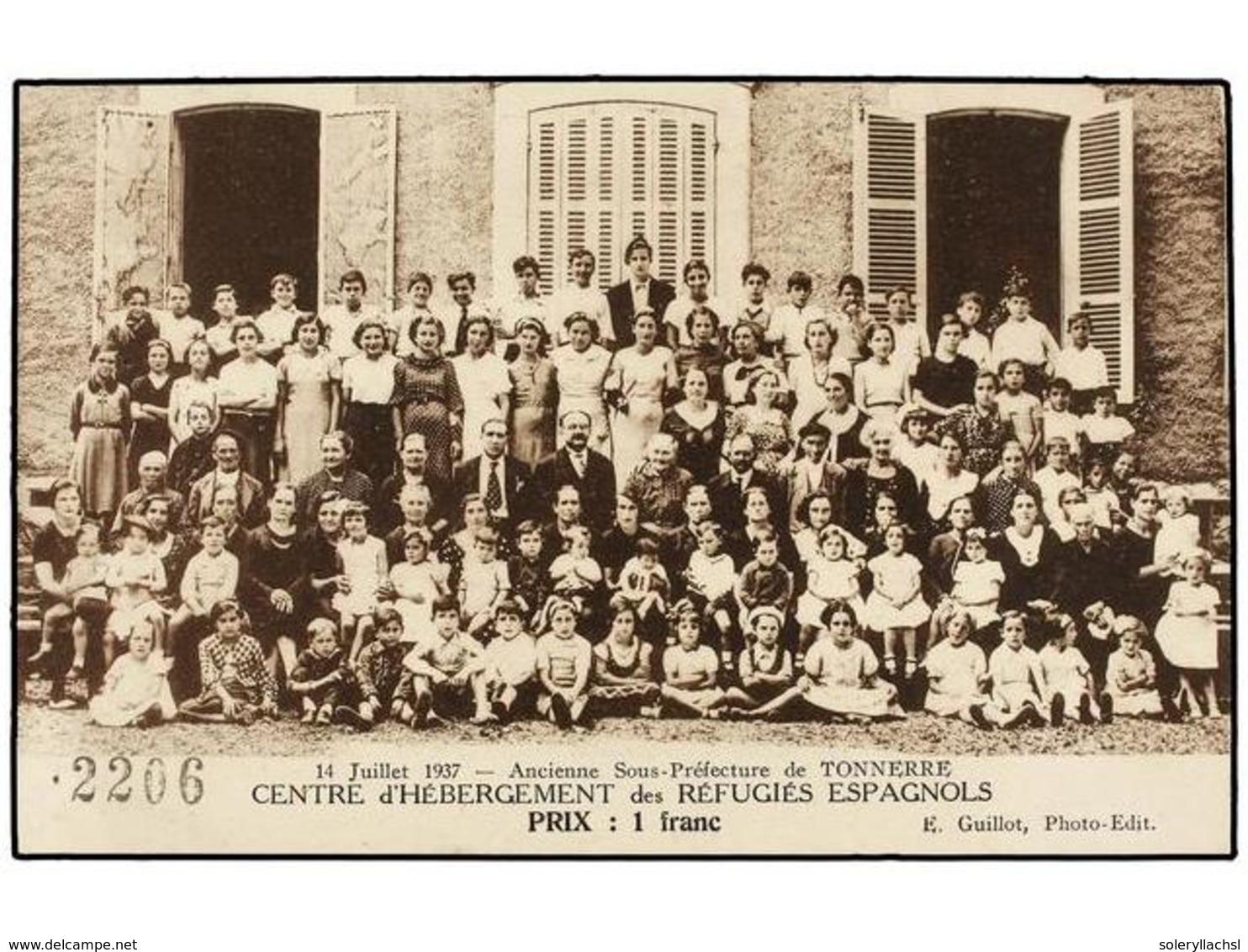 897 ESPAÑA GUERRA CIVIL. 1937. Tarjeta Postal Vendida Por <B>1 Fr. CENTRE D'HÉBERGEMENT DES RÉFUGIÉS ESPAGNOLS.</B> - Stamps