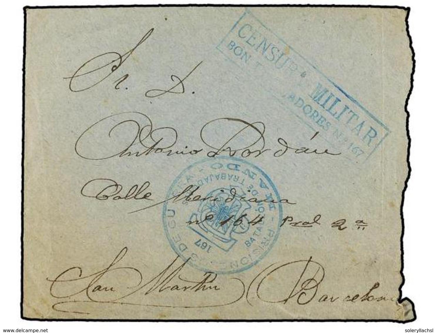 901 ESPAÑA GUERRA CIVIL. 1939. VALENCIA A BARCELONA. Carta Con Texto. Marca De Franquicia Y Censura <B>PRISIONEROS DE GU - Stamps