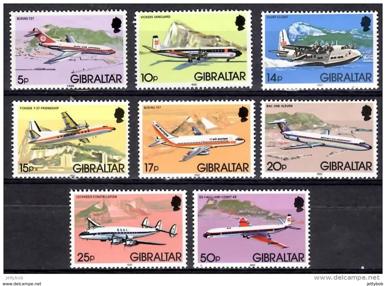 GIBRALTAR 1982 Aircraft 8 Values Mounted Mint - Gibraltar