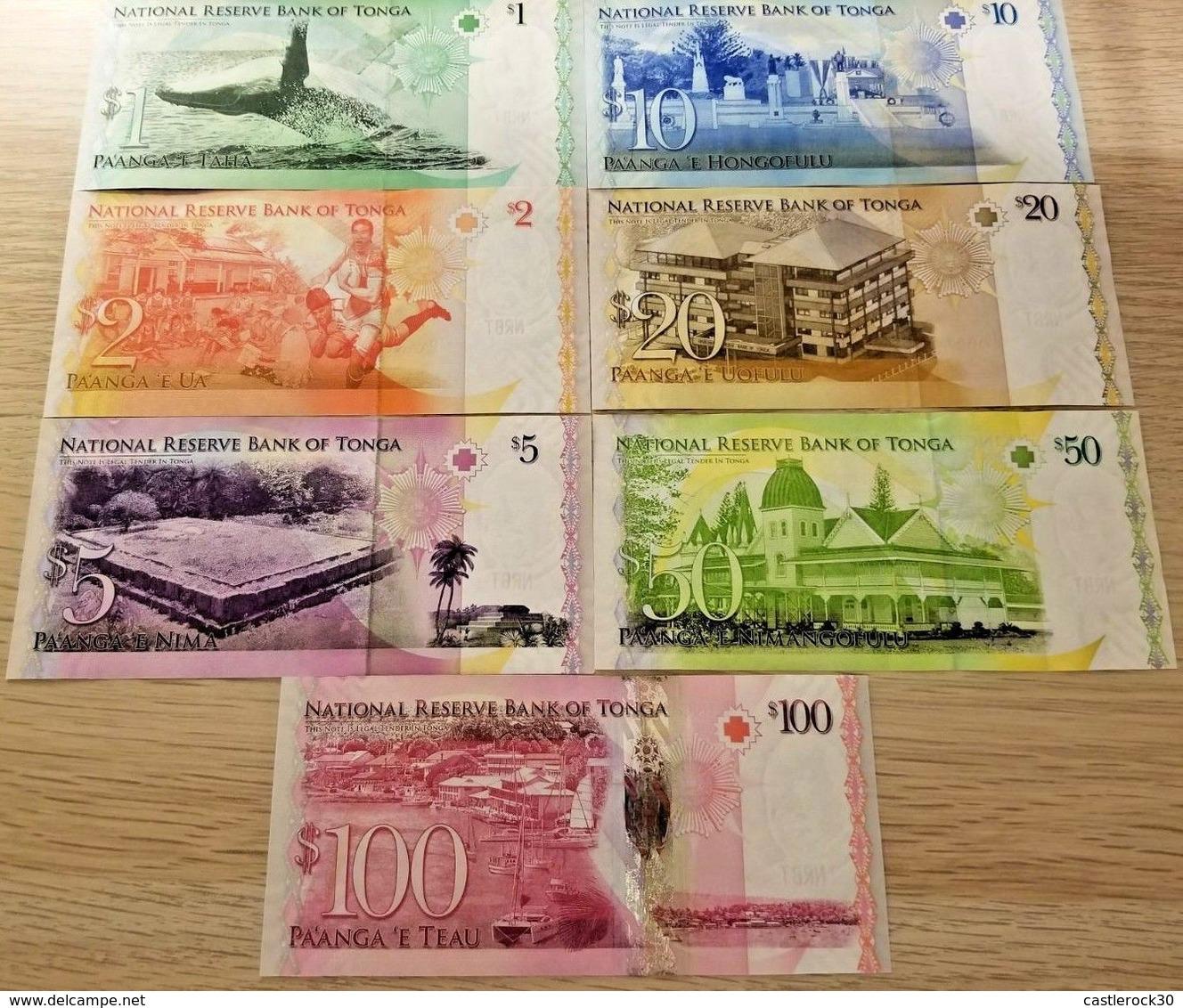 C) TONGA BANK NOTES 7 PCS SET UN ND 2008 - Tonga