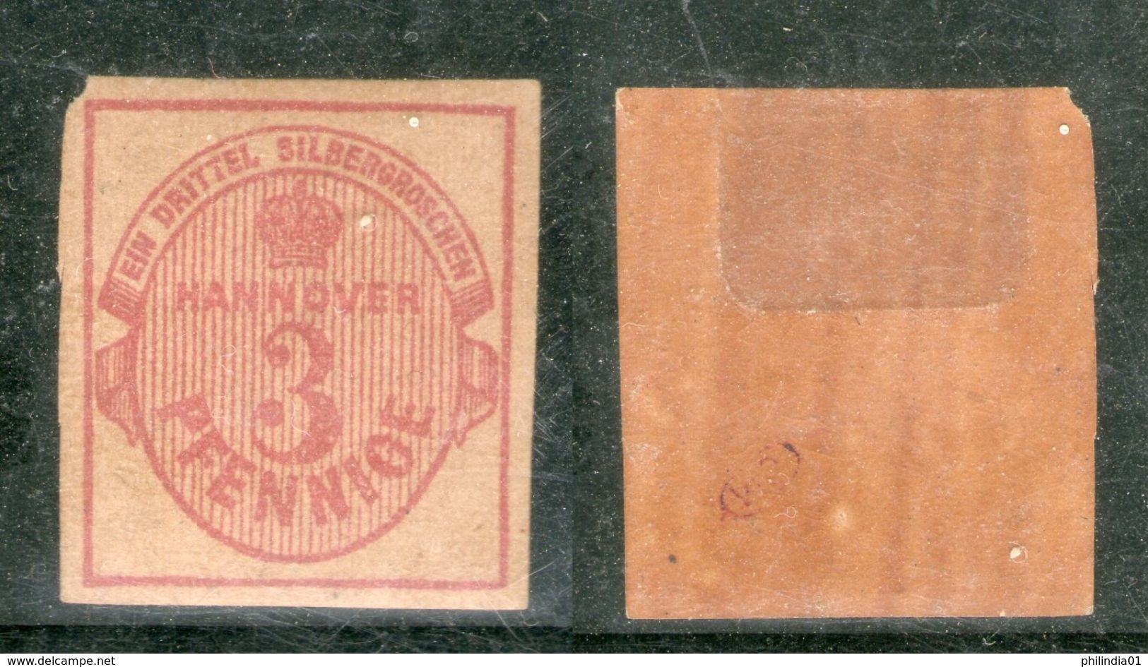Germany Hannover 1853 3 Pf Crown & Numerical Sc 7 Cat $275  MH Good # 1693 - Hanover