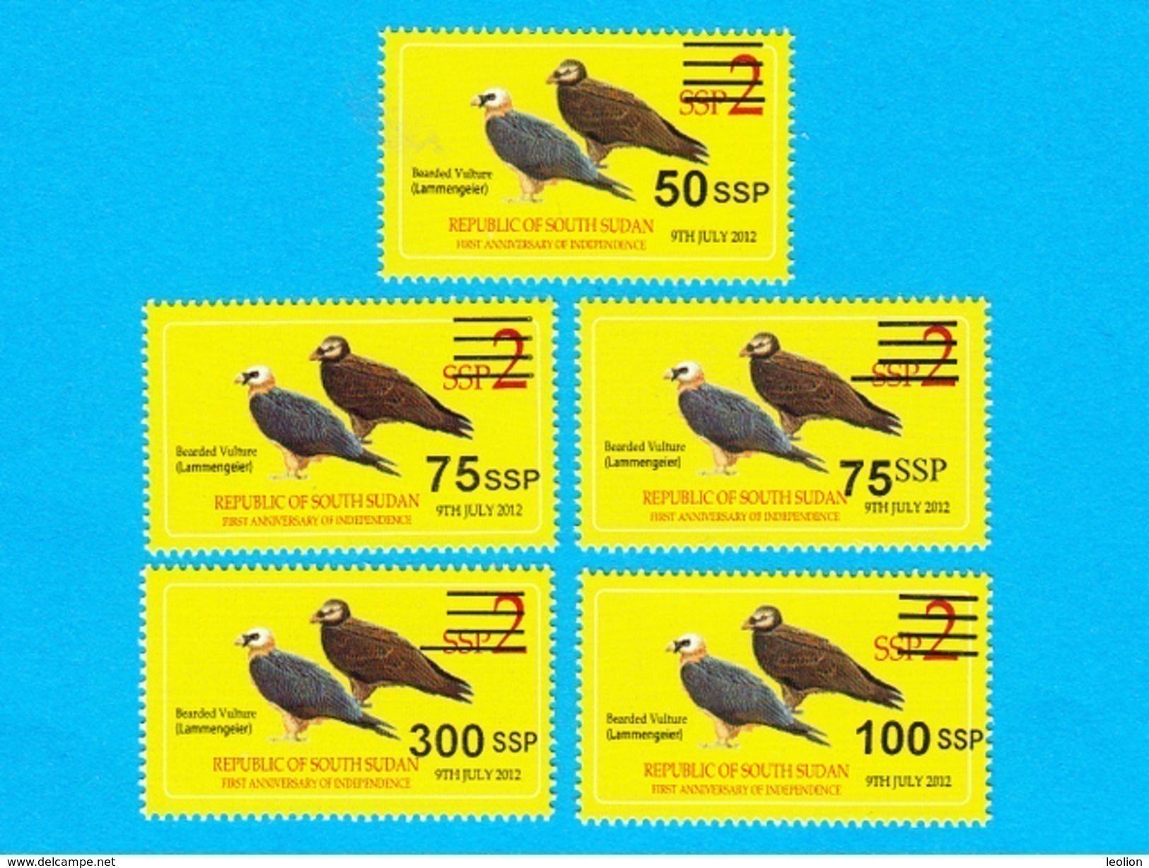 SOUTH SUDAN Surcharged Overprints On 2 SSP Birds Stamp Of The 2nd Set SOUDAN Du Sud Südsudan - South Sudan