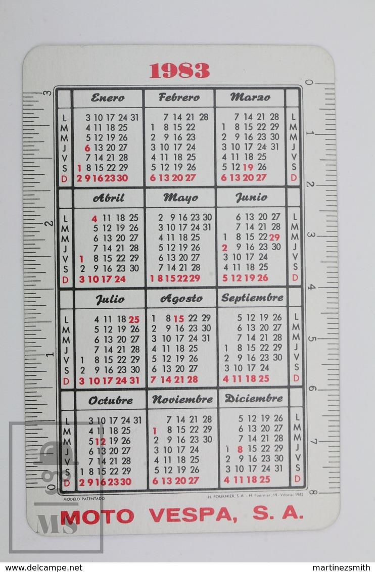 Vintage 1983 Vespa Vespino Scooter Advertising Pocket Calendar - H. Fournier - Calendarios