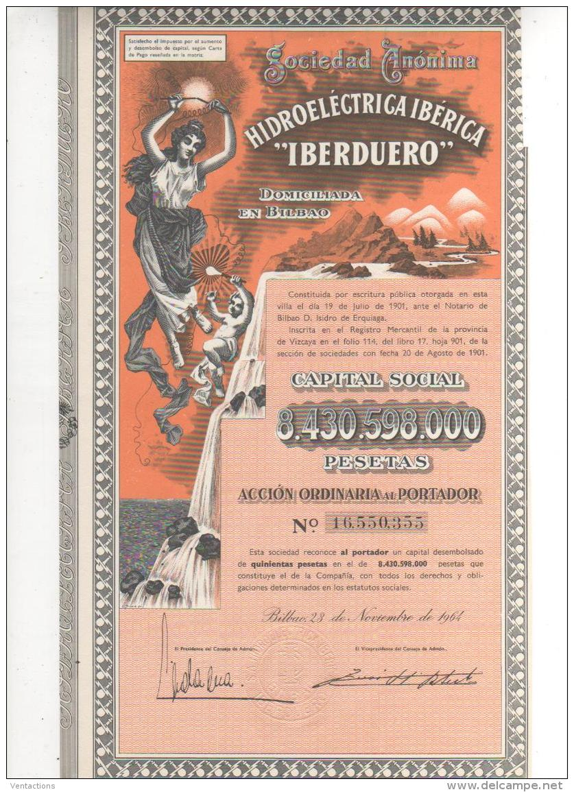 ESPAGNE-HIDROELECTRICA IBERICA.IBERDUERO. BILBAO. 1964. DECO - Shareholdings