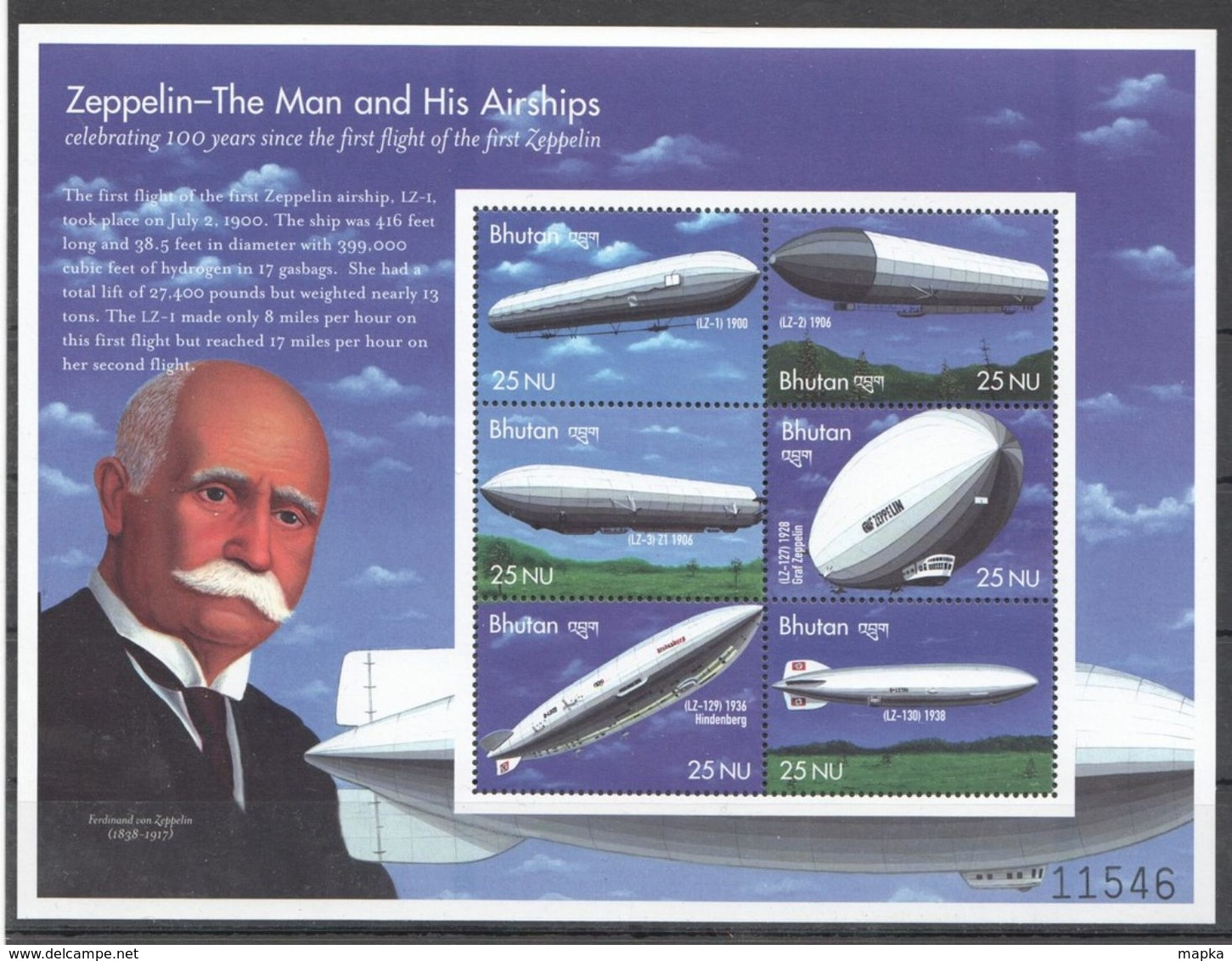 M316 BHUTAN AVIATION ZEPPELIN THE MAN & HIS AIRSHIPS 1KB MNH - Zeppelins