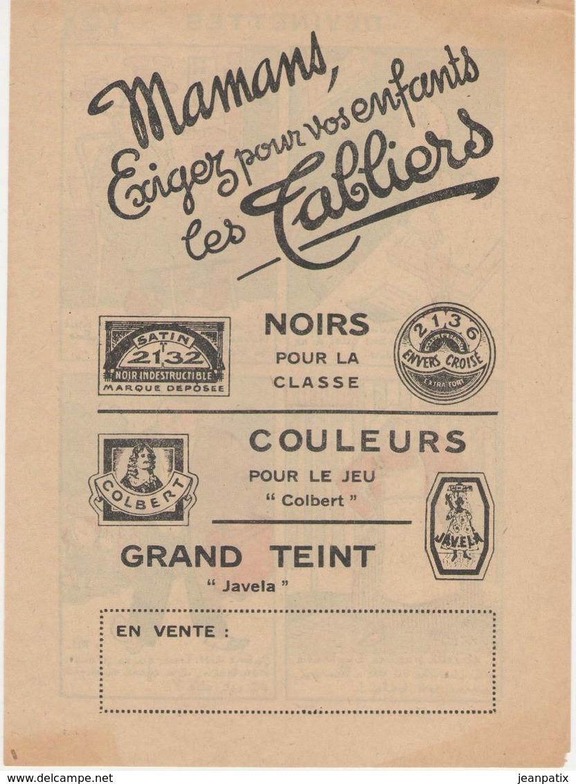 Imagerie Moderne Louis Bellenand Et Fils 1930 - Devinettes - Publicité Verso Les Tabliers Colbert Javela - Menus