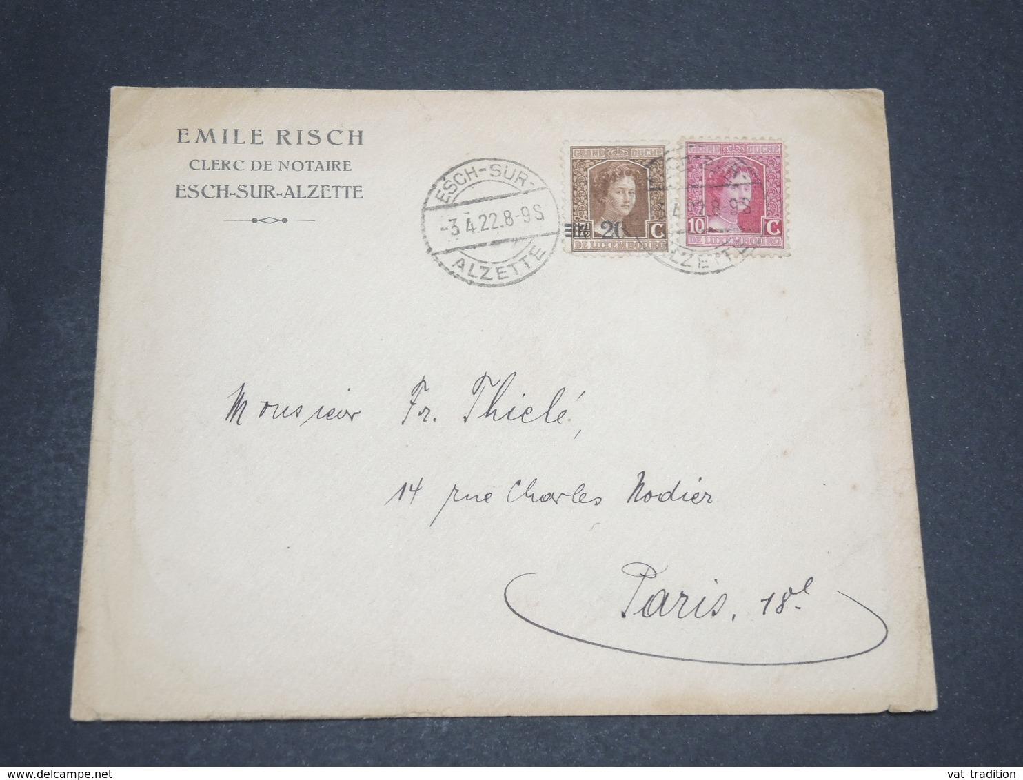 LUXEMBOURG - Enveloppe De Esch Sur Alzette Pour La France En 1922 , Affranchissement Plaisant Bicolore - 14060 - Luxembourg