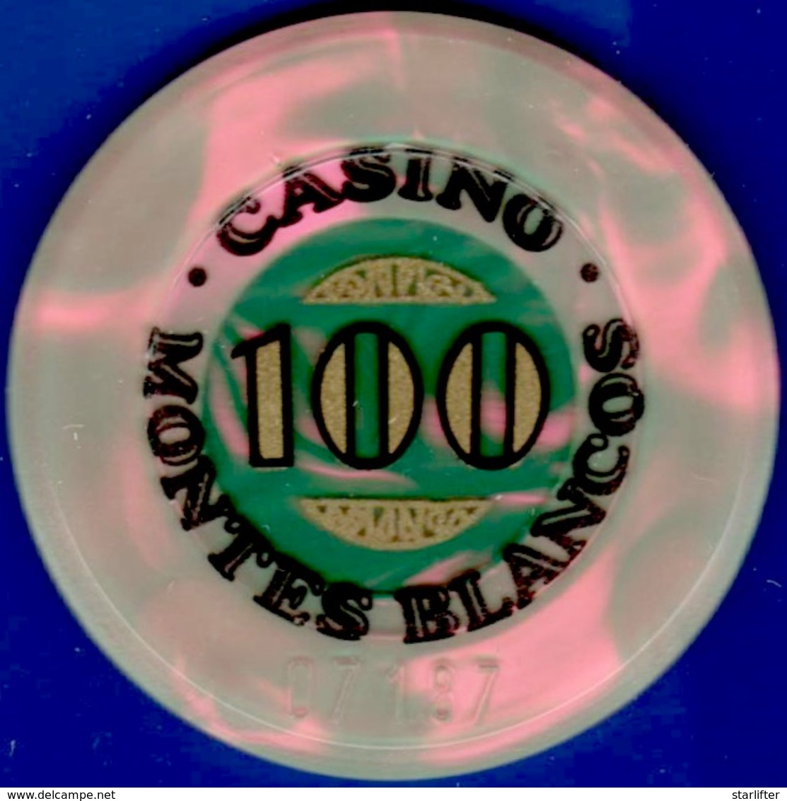 100 Pesetas Casino Chip. Casino Montes Blancos, Zaragosa, Spain. L17. - Casino