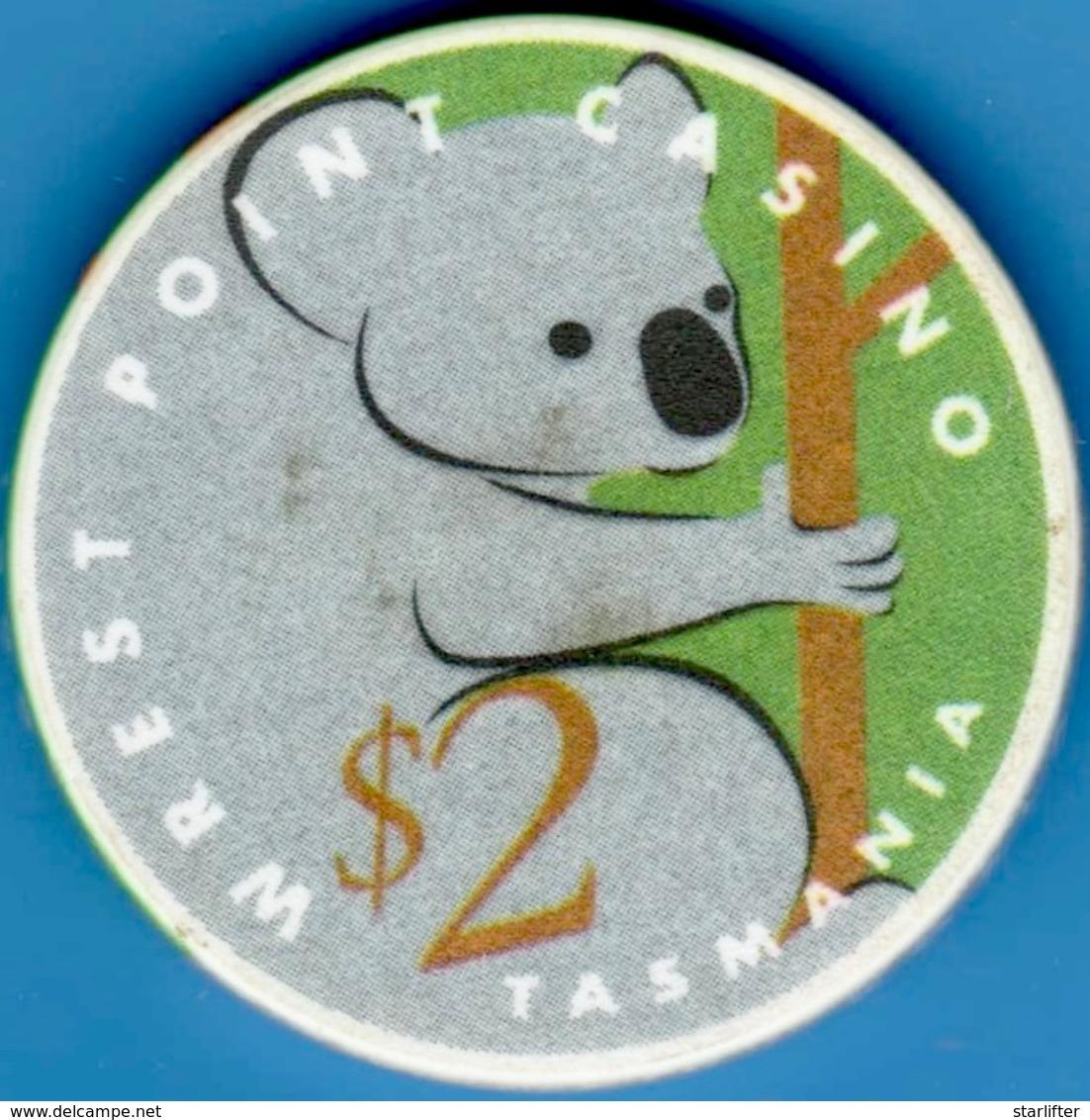 $2 Casino Chip. Wrest Point, Sandy Point, Tasmania. L19. - Casino