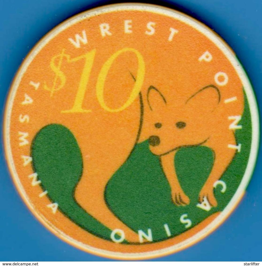 $10 Casino Chip. Wrest Point, Sandy Point, Tasmania. L19. - Casino
