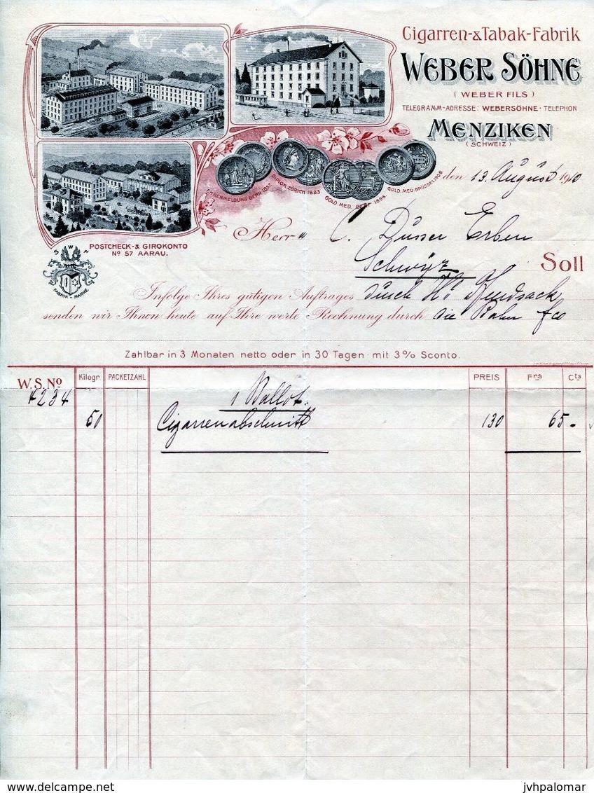 FACTURE--CIGARREN & TABAK -FABRIK WEBER SÖHNE- 1910 - MENZIKEN- SCHWEIZ - Suiza