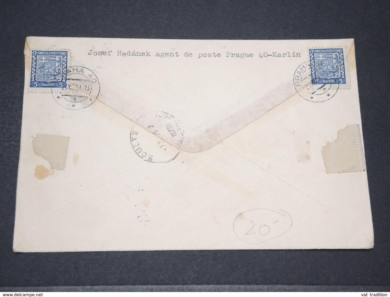 BOHÊME ET MORAVIE - Enveloppe En Recommandé De Prague Pour La France En 1939 - L 14228 - Lettres & Documents
