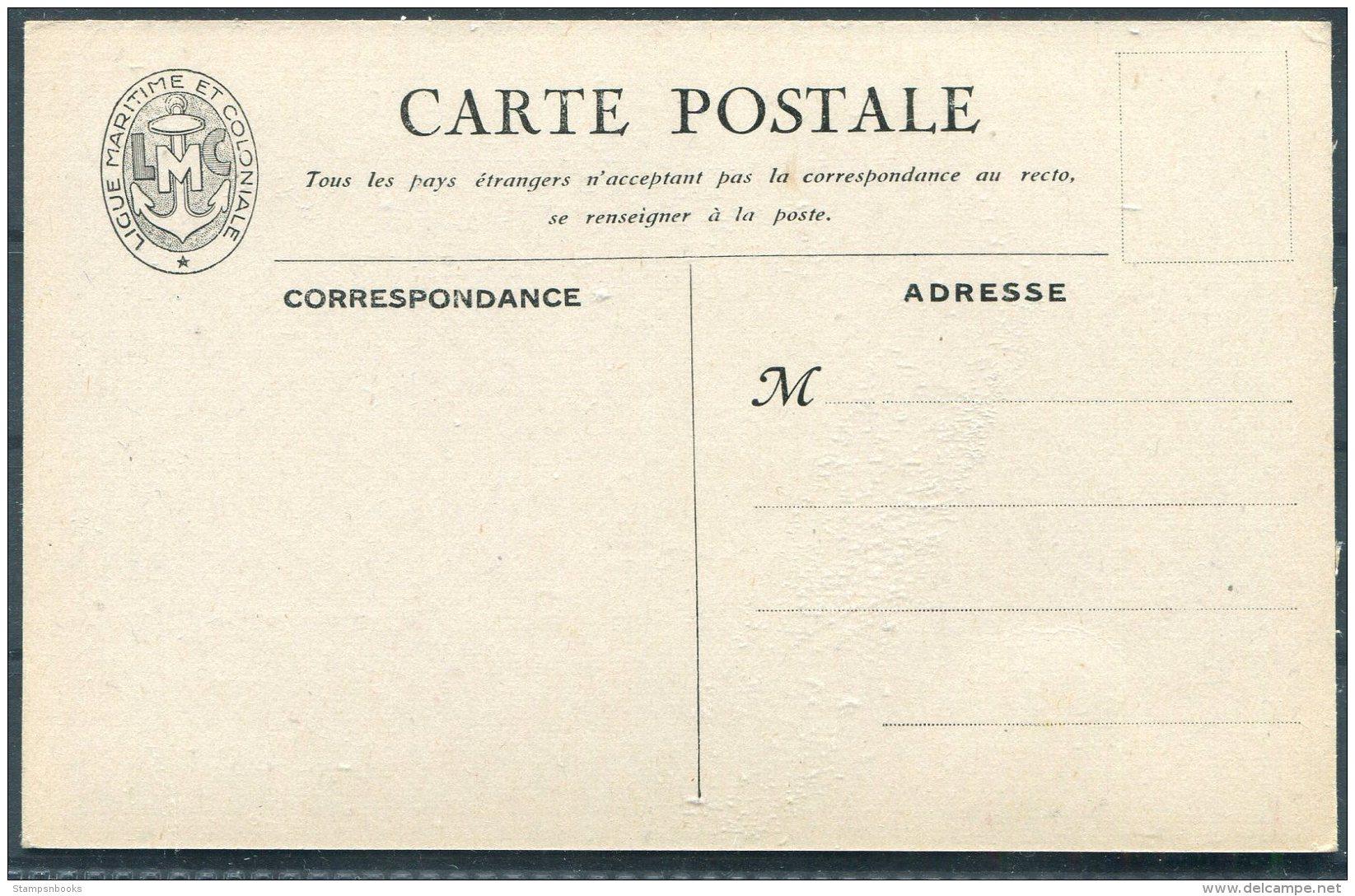 France Ligue Maritime Et Coloniale Postcard ' Le Croiseur FOCH'  Warship - Warships