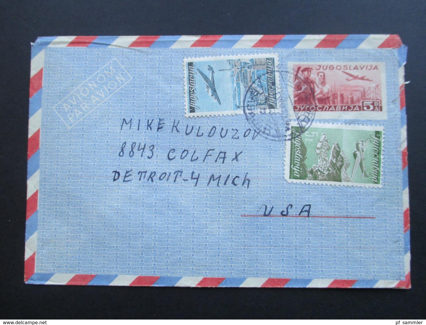 Jugoslawien 1948 / 49 Lufrpostfaltbrief LF 2 Mit 2 Zusatzfrankaturen Nach Detroit USA. - Cartas