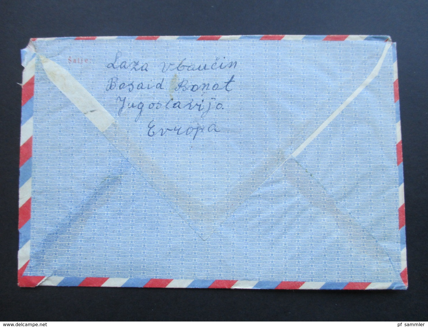 Jugoslawien 1948 / 49 Lufrpostfaltbrief LF 2 Mit 2 Zusatzfrankaturen Nach Detroit USA. - 1945-1992 République Fédérative Populaire De Yougoslavie