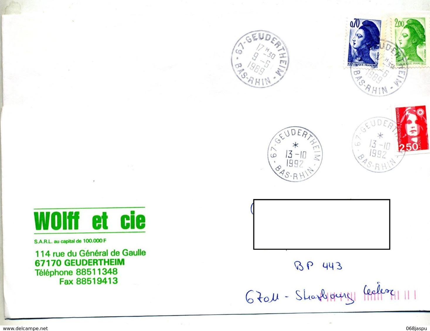 Lettre Cachet Geudertheim - Manual Postmarks