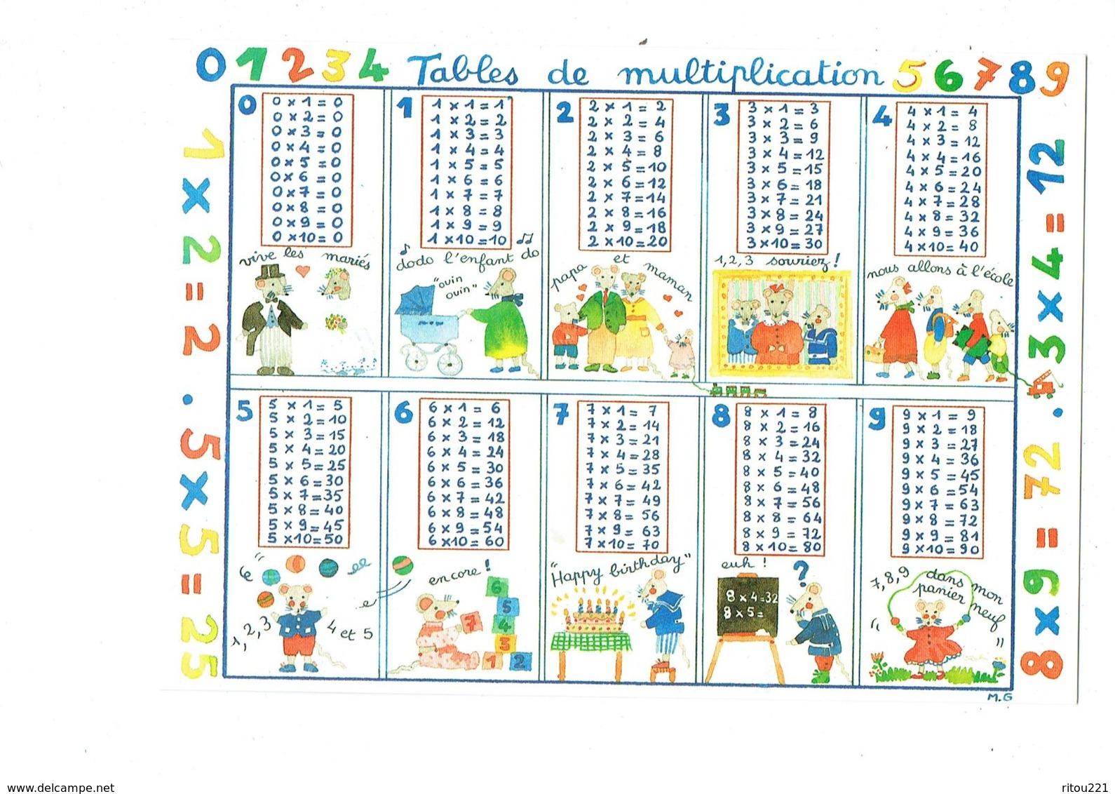 Illustration Monique Gauriau - Tables De Multiplication - Chiffre - Souris Rat Tableau Cubes Jouet Jongleur Carde - Landkarten