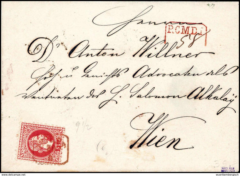 Beleg TRIEST, Roter R3 Mit Beiges. Rotem Reko-Stempel Auf Kab.-Brief 5 Kr. Nach Wien. Die Rs. Frankatur Beim Öffnen Durc - Stamps