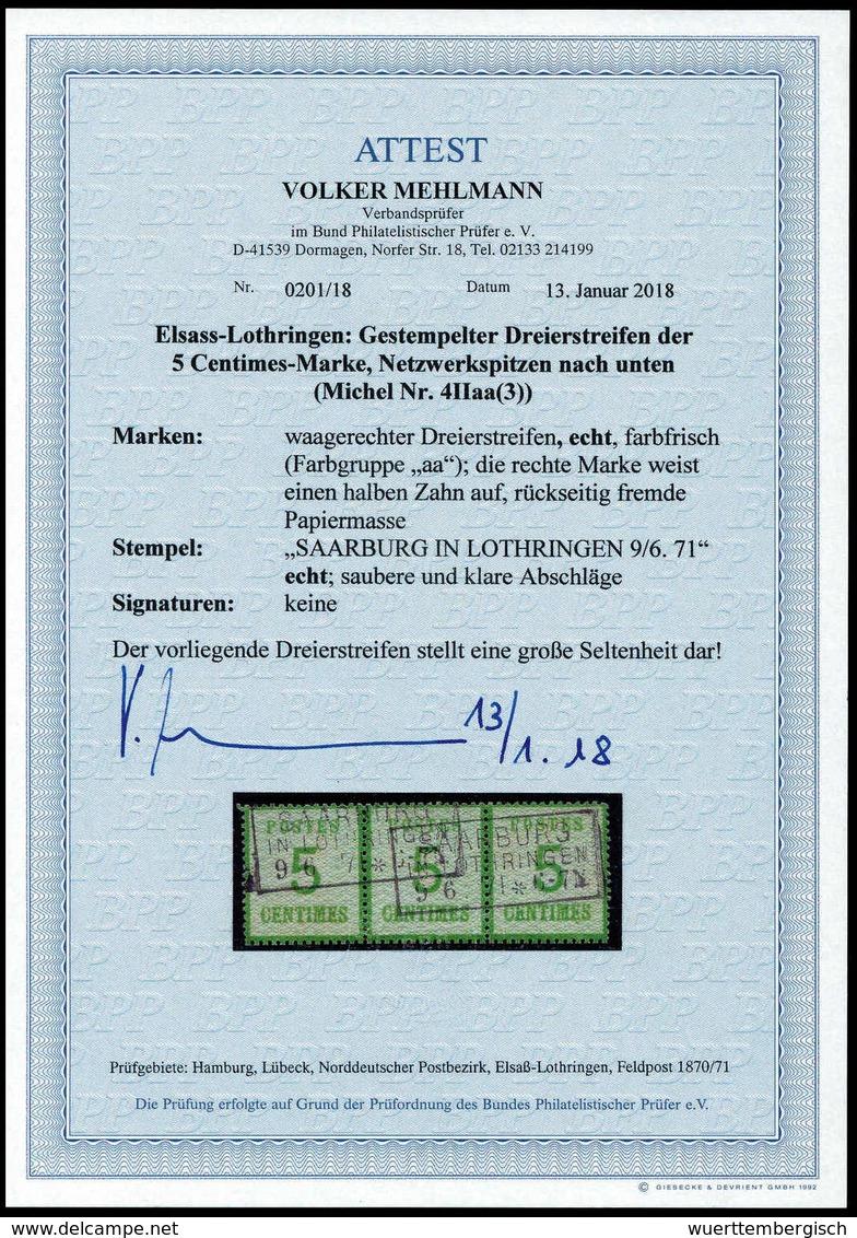 Gest. 5 C., Farbfrischer, Waagr. Dreierstreifen Mit Zwei Sauber Aufges. R3 SAARBURG IN LOTHRINGEN 9/6 71, Re. Marke Ein  - Stamps