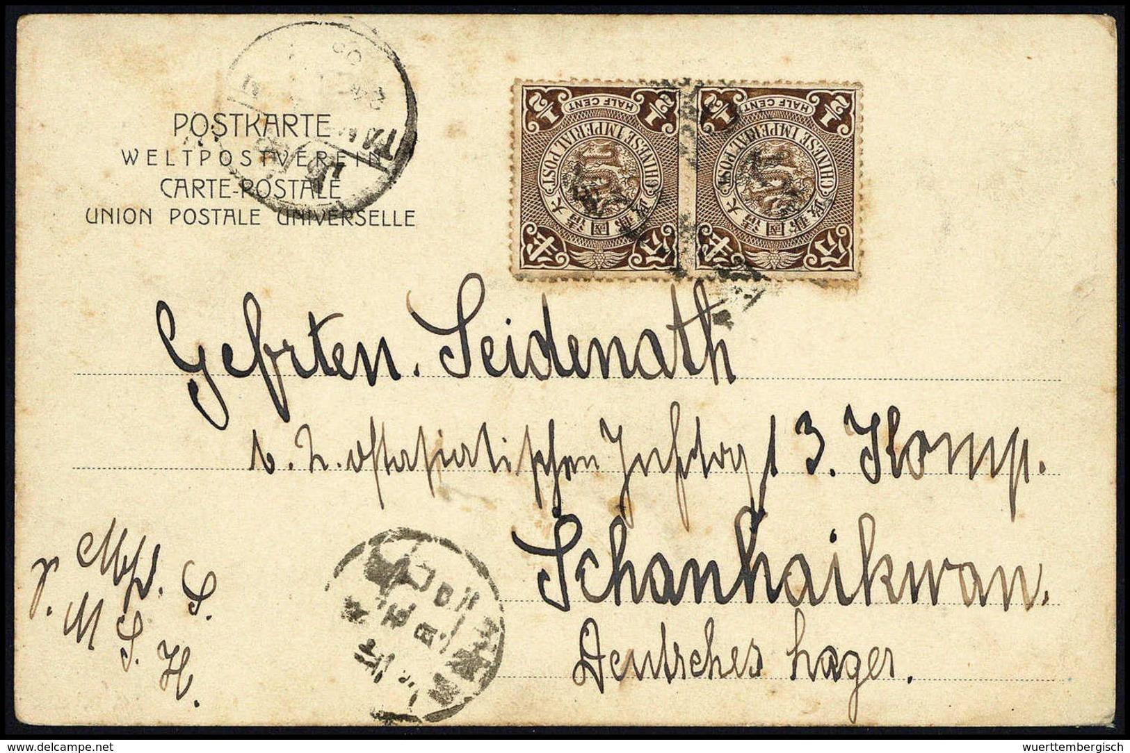 """Beleg 1905, """"Chinesische Arbeiter Am Hafenbau Tsingtau"""", Seltene Farbige Foto-AK Mit Zweimal ½ C. Und Chines. Holzstempe - Stamps"""
