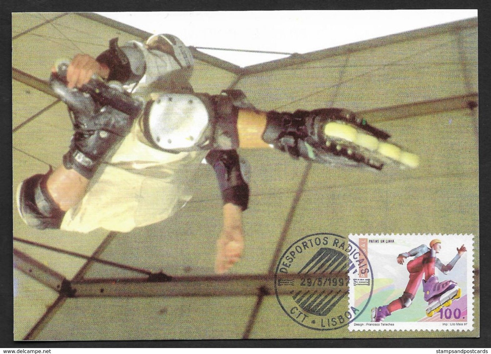 Portugal Patin à Roulettes Sports Extrêmes Carte Maximum 1997 Roller Skate Extreme Sports Maxicard - Skateboard