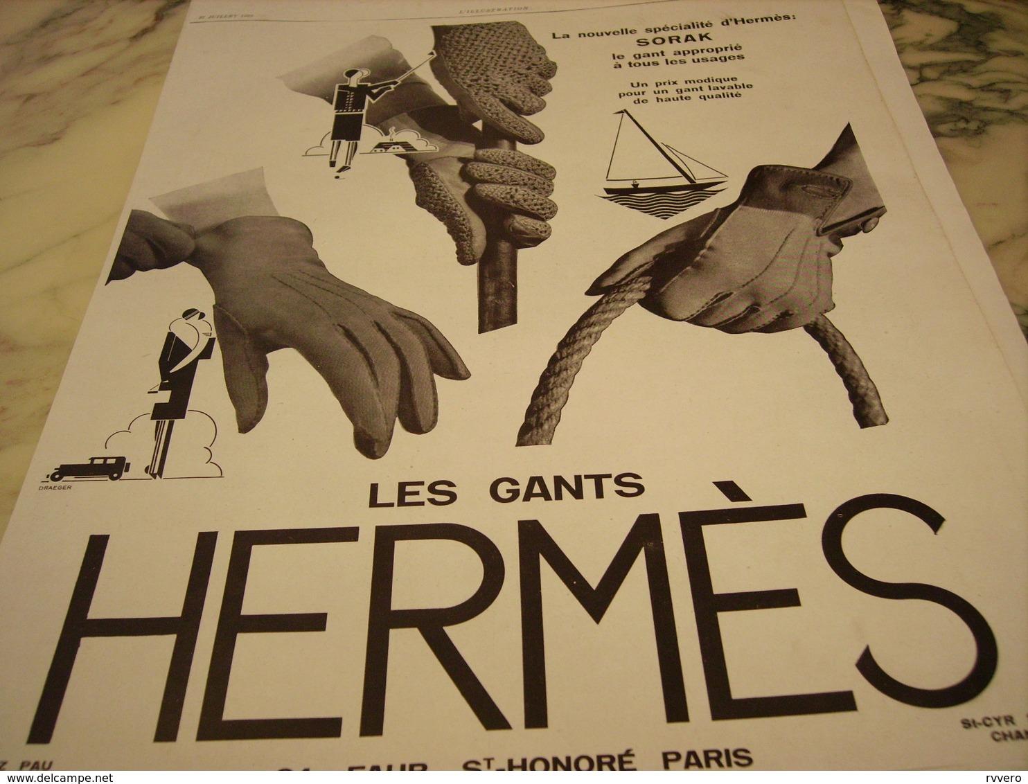 ANCIENNE AFFICHE PUBLICITE HERMES SELLIER GANT  1929 - Habits & Linge D'époque