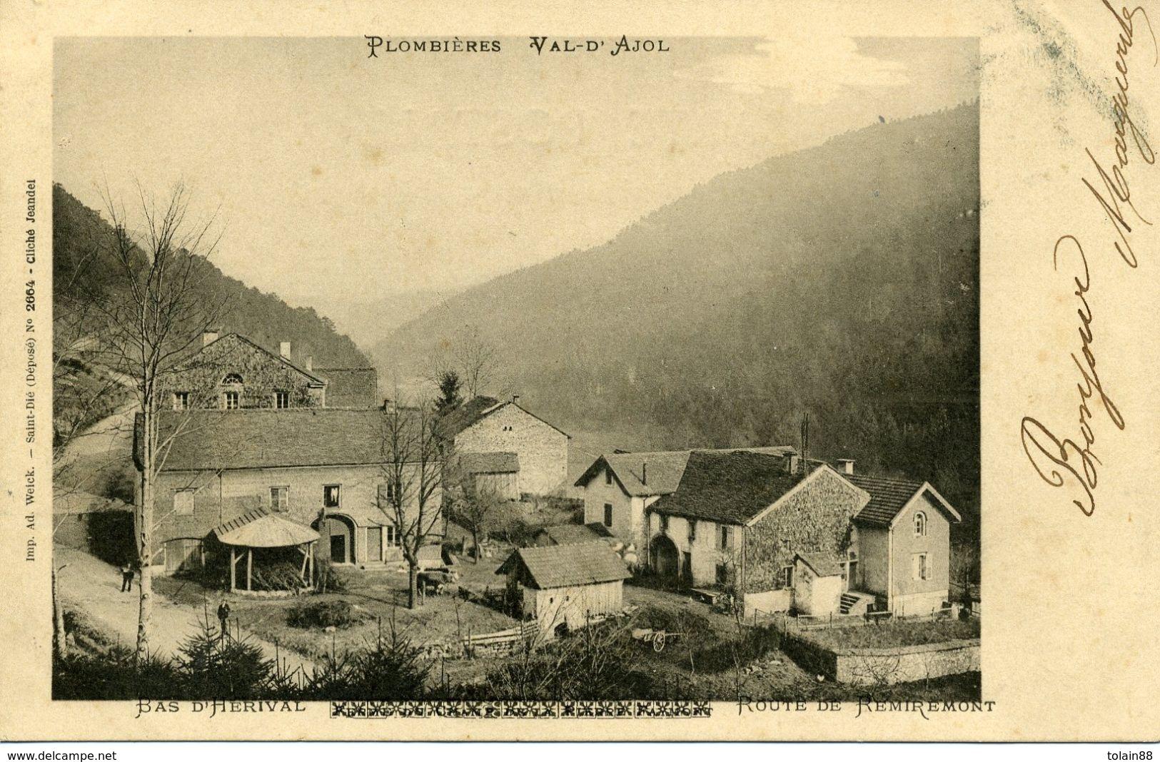 CPA 88 Vosges Plombiéres Val D'Ajol    Bas D'Hérival Route De Remiremont - Plombieres Les Bains