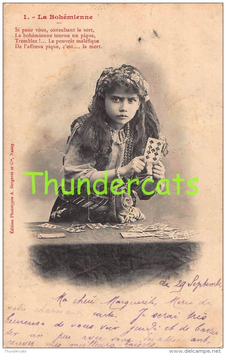 CPA JEU DE CARTES FILLE VOYANTE  FORTUNE TELLER GIRL PLAYING CARDS LA BOHEMIENNE BERGERET - Cartes à Jouer