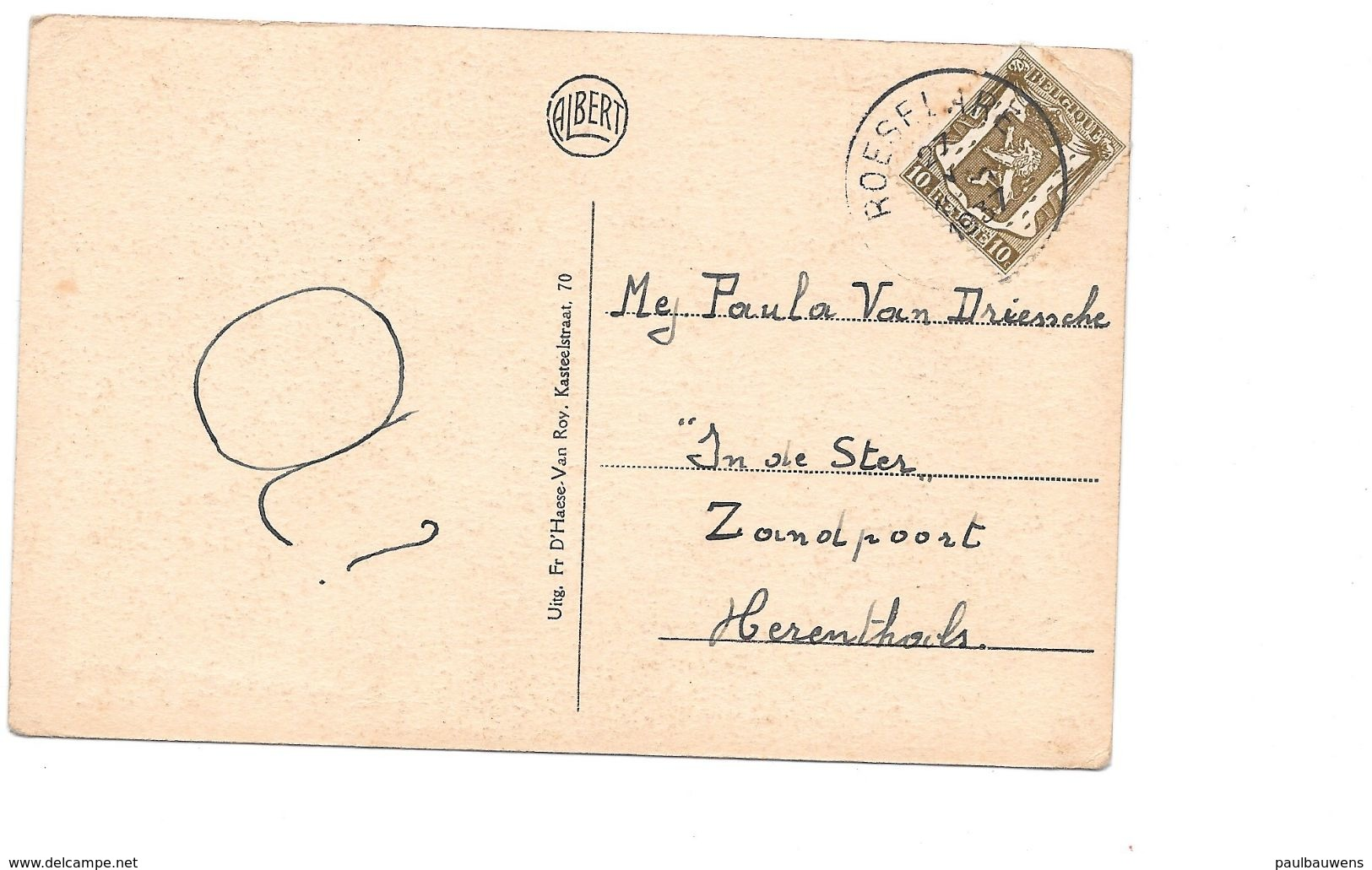 """Essenbeek Esschenbeek """"Bij Jef Bider"""", Cafe Van 1927, Met Postzegel. - Halle"""