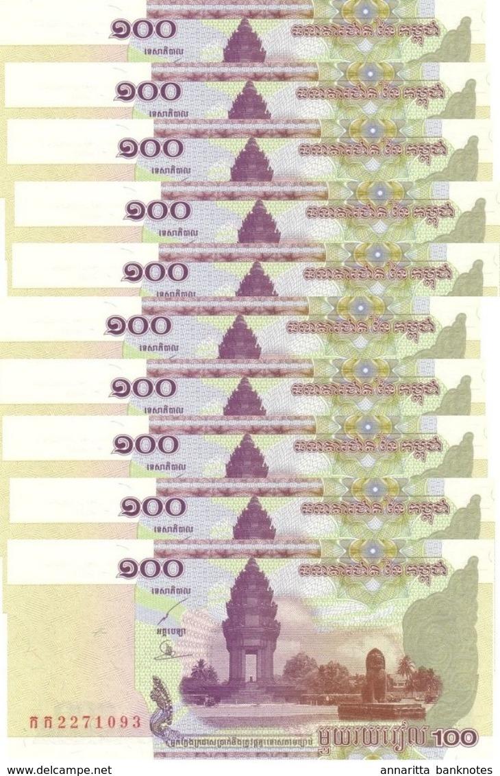 CAMBODIA 100 RIELS 2001 P-53a UNC 10 PCS [KH416a] - Cambodia