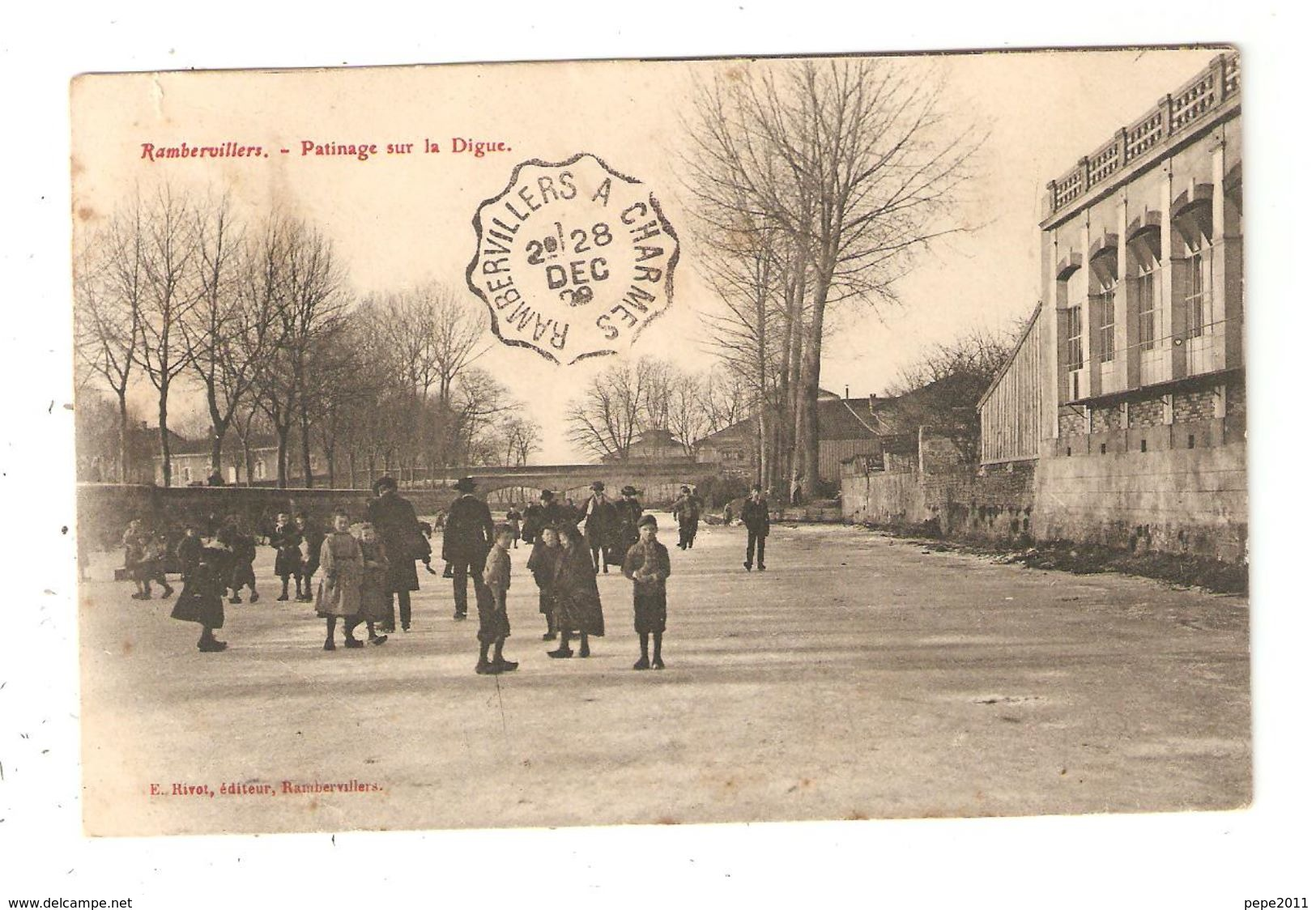 CPA 88 RAMBERVILLERS Patinage Sur La Digue Animation Enfants Cachet Convoyeur Rambervillers > Charmes 1909 - Rambervillers