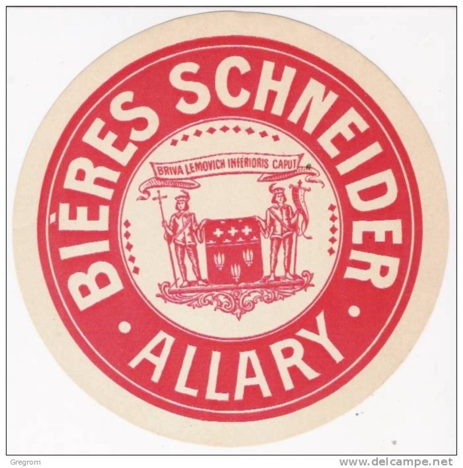 ( Sous Bock ) Ou étiquette Papier BIERES SCHNEIDER  , ALLARY , BRIVE , - Beer