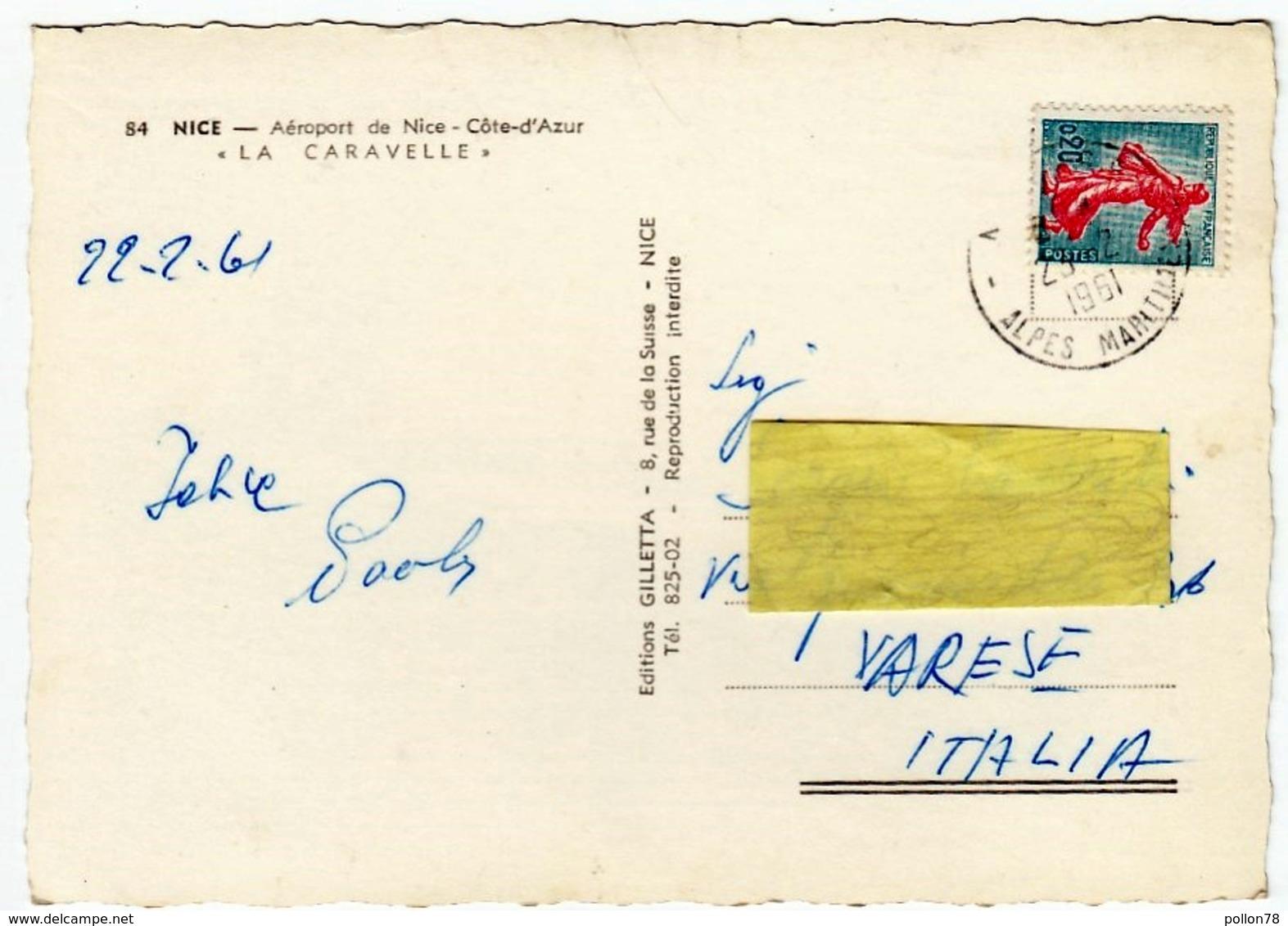 AVIAZIONE - AEREI - AEROPORT DE NICE - LA CARAVELLE - AIR FRANCE - 1961 - Vedi Retro - 1946-....: Moderne